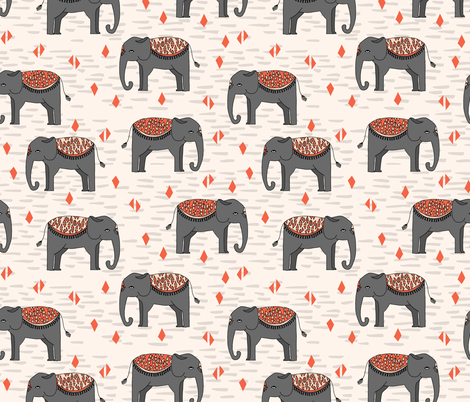 Elephant Parade - Champagne/Charcoal/Blush/Coral fabric by andrea_lauren on Spoonflower - custom fabric
