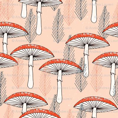 Fungus Forest - Blush/Tea Rose/Vermillion