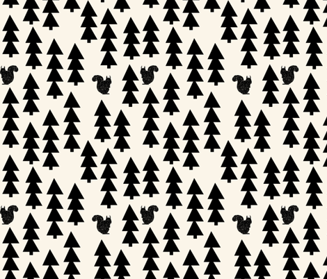 woodland squirrel // black and cream forest trees woodland  fabric by andrea_lauren on Spoonflower - custom fabric