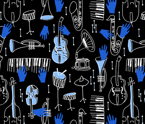 Kind of Blue - Musical Jazz by Andrea Lauren fabric by andrea_lauren on Spoonflower - custom fabric