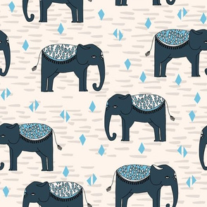 Elephants Parade - Champagne/Soft Blue/Parisian Blue