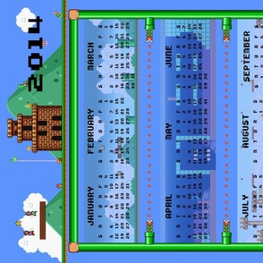 2014 Mario_Bros_Tea_Towel_Calendar