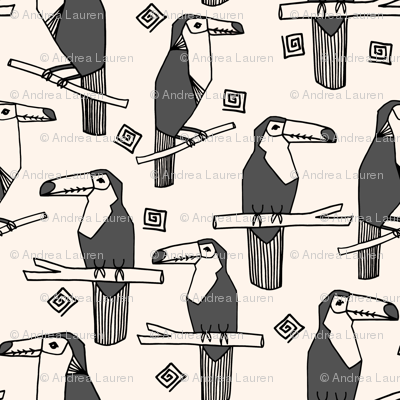 Tropical Toucans - Charcoal/Champagne by Andrea Lauren