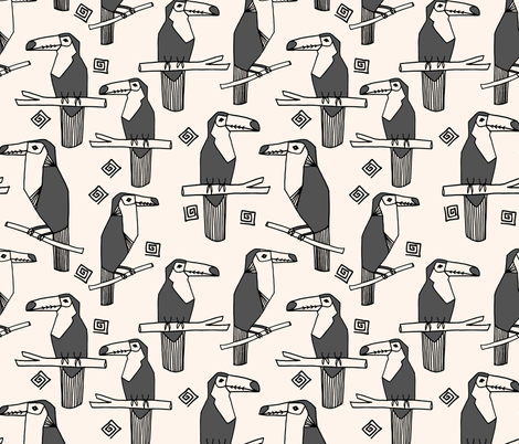 toucans // charcoal toucan bird tropical bird summer tropical toucans fabric by andrea_lauren on Spoonflower - custom fabric