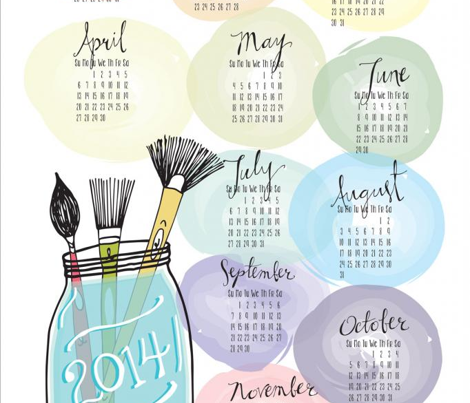 Watercolor Tea Towel Calendar 2014