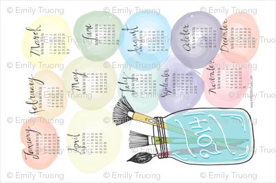 Watercolor Tea Towel Calendar 2014