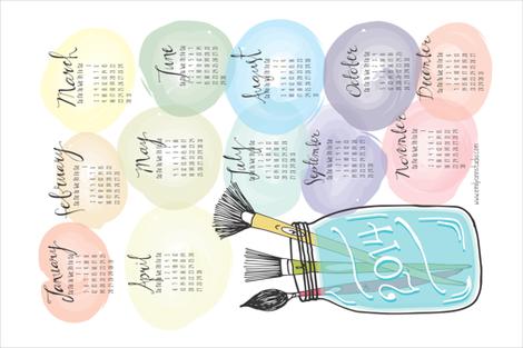 Watercolor Tea Towel Calendar 2014 fabric by emilyannstudio on Spoonflower - custom fabric