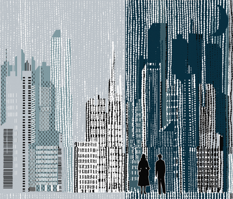 FILM_NOIR MANHATTAN DAY & NIGHT/01 fabric by mariskadesign on Spoonflower - custom fabric