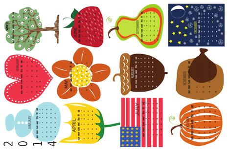 COLOR MY DAYS 2014 CALENDAR  fabric by vanillabeandesigns on Spoonflower - custom fabric