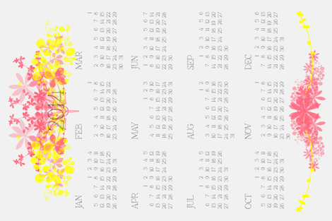 Calendar_2014_tea_towel fabric by kate_clarke_design on Spoonflower - custom fabric