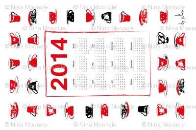 2014 Teacups Teatowel Calendar