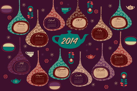 2014 Super Tea Towel Calendar fabric by misslife on Spoonflower - custom fabric