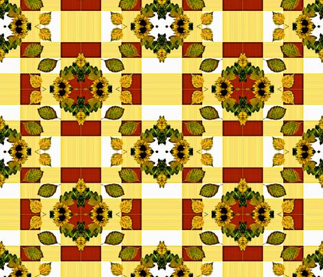 Fall Leaves & Sunflowers fabric by judyjo on Spoonflower - custom fabric