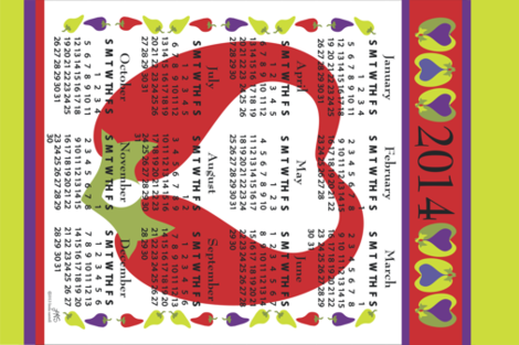 Tea Towel Calendar 2014_Red_Hot_Pepper_Love fabric by linda_santell on Spoonflower - custom fabric