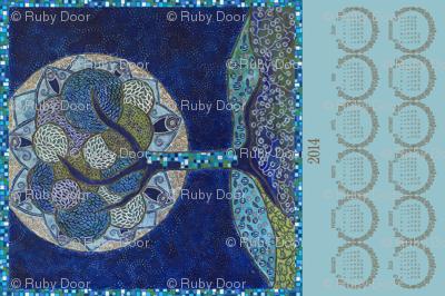 2014 Tea Towel • Moon in Bloom (painting)