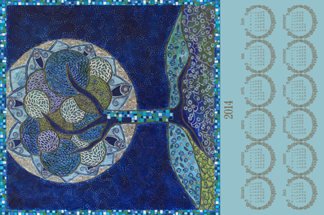 2014 Tea Towel • Moon in Bloom (painting) fabric by rubydoor on Spoonflower - custom fabric