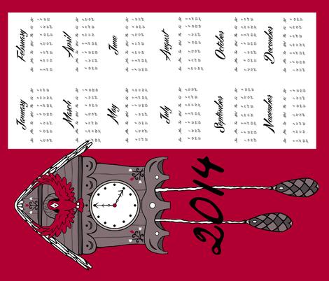 2014 Cuckoo Calendar fabric by pond_ripple on Spoonflower - custom fabric