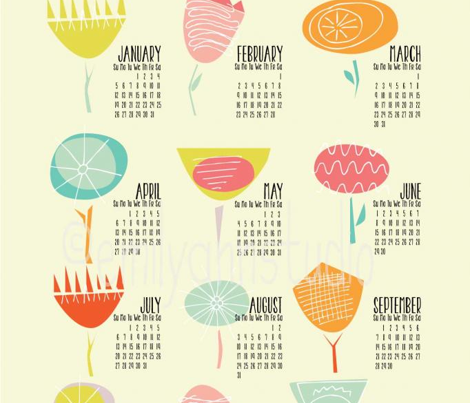 2014 Tea Towel Calendar Happy Floral