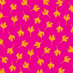 leaves on pink