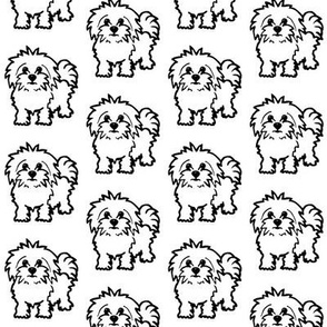 Maltese dog print - White background