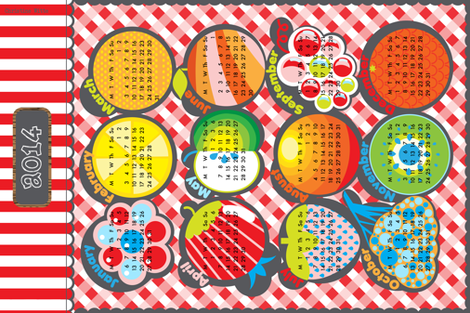 Fruit Market Calendar 2014 fabric by christinewitte on Spoonflower - custom fabric
