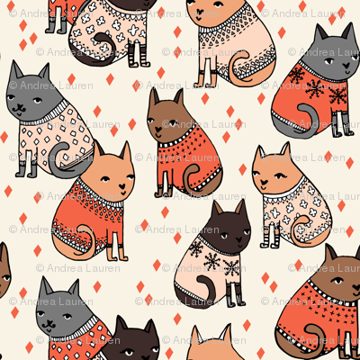 Cats at a Sweater Party - by Andrea Lauren