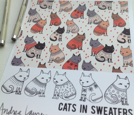 cats in sweaters // holiday christmas sweater ugly sweater illustration pattern for fashion textiles and wallpapers