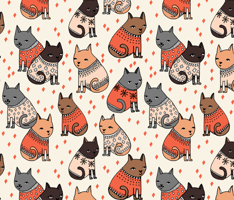 cats in sweaters // holiday christmas sweater ugly sweater illustration pattern for fashion textiles and wallpapers fabric by andrea_lauren on Spoonflower - custom fabric