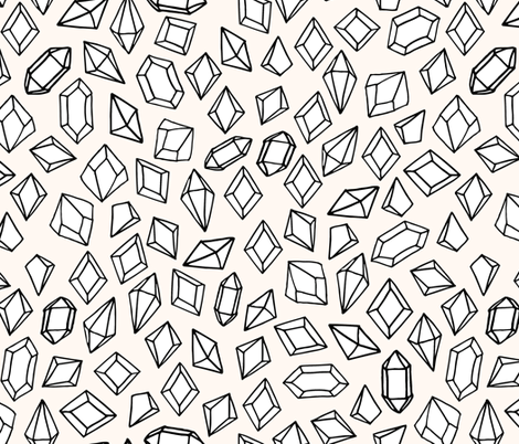 Crystal Gems - Champagne/Black/White by Andrea Lauren fabric by andrea_lauren on Spoonflower - custom fabric