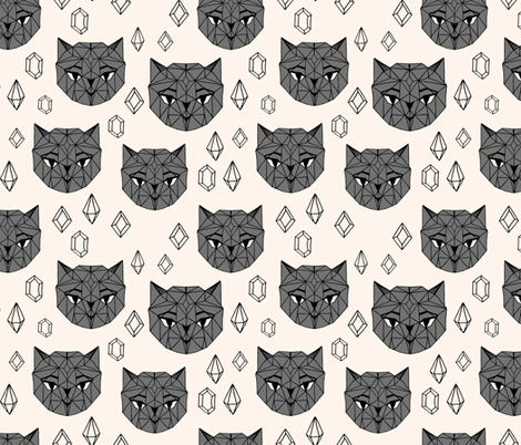 Crystal Cat Heads - Champagne/Charcoal fabric by andrea_lauren on Spoonflower - custom fabric