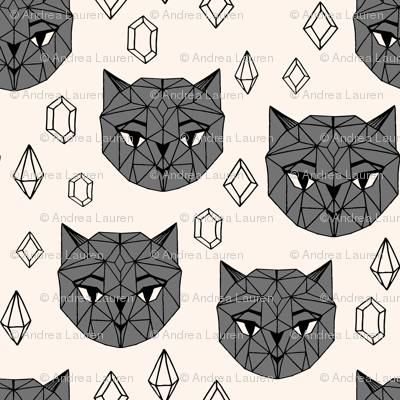 Crystal Cat Heads - Champagne/Charcoal