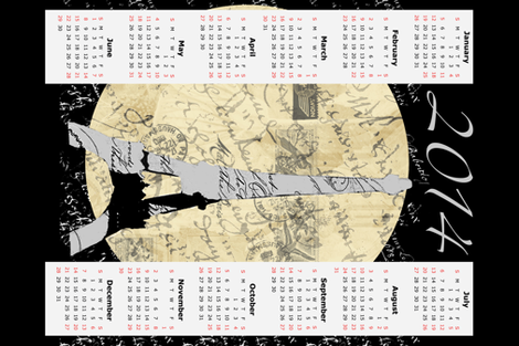 Eiffel Tower Moon, 2014 Calendar fabric by karenharveycox on Spoonflower - custom fabric