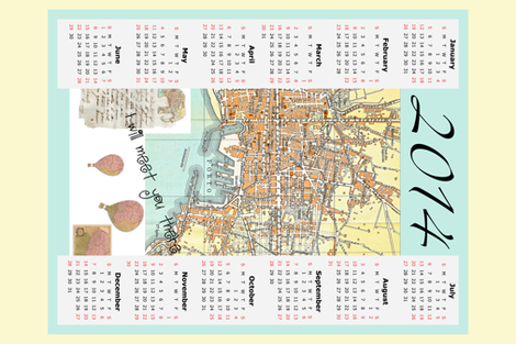 2014 tea towel Calendar map of Italy fabric by karenharveycox on Spoonflower - custom fabric