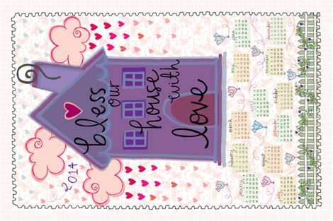Bless Our House 2014 Calendar fabric by dwdesigns on Spoonflower - custom fabric