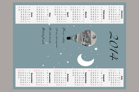 2014 tea towel calendar, destination serendipity fabric by karenharveycox on Spoonflower - custom fabric
