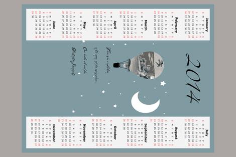 2014 tea towel calendar, destination serendipity fabric by karenharveycox on Spoonflower - custom fabric