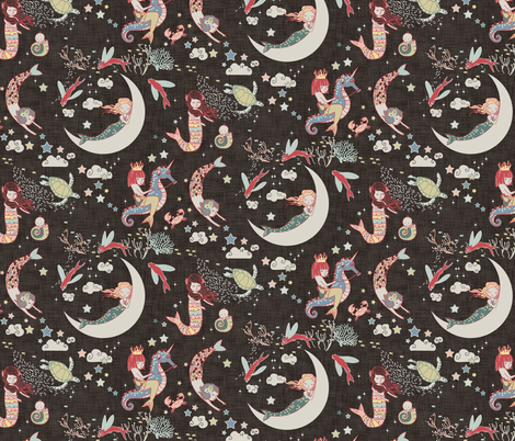 Mermaid Lullaby SMALL (Black Linen) fabric by nouveau_bohemian on Spoonflower - custom fabric