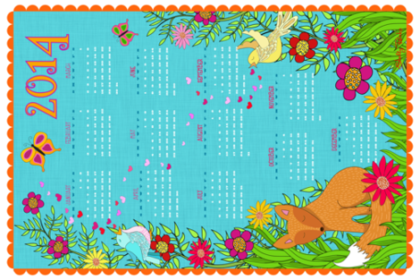 Foxy Love 2014 Calendar Tea Towel fabric by shellypenko on Spoonflower - custom fabric