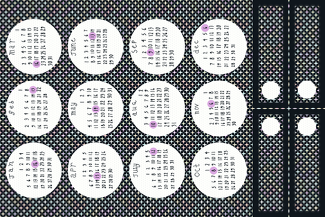 2014 Full Moon Tea Towel Calendar - with bonus bookmarks fabric by mongiesama on Spoonflower - custom fabric