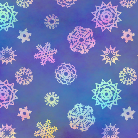 Crystalline Delight ~ Snowflakes ~ Small fabric by peacoquettedesigns on Spoonflower - custom fabric