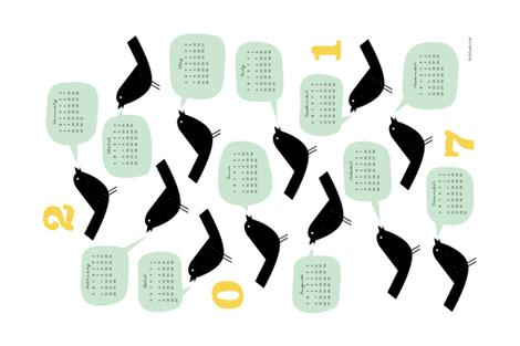 Bird Talk 2017 Calendar fabric by jenimp on Spoonflower - custom fabric