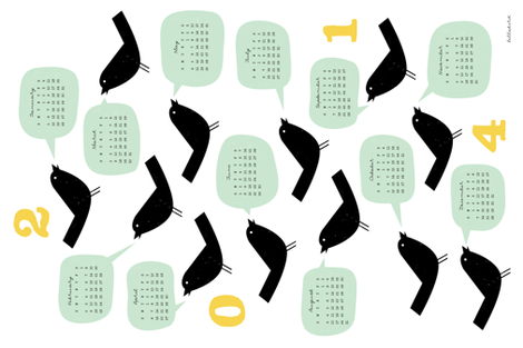 Bird Talk 2014 Calendar fabric by jenimp on Spoonflower - custom fabric
