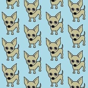 chihuahua dog print - baby blue