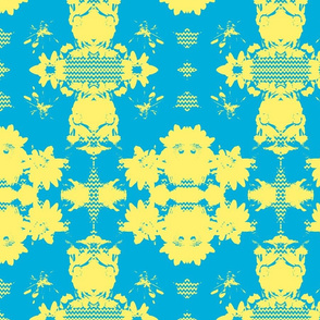 Blue and Yellow Chevron Floral