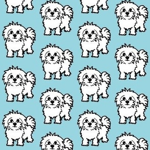 Maltese dog print - baby blue