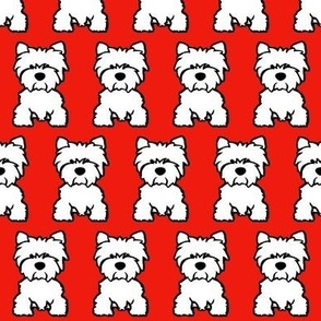 Westie Dog Print - Red background