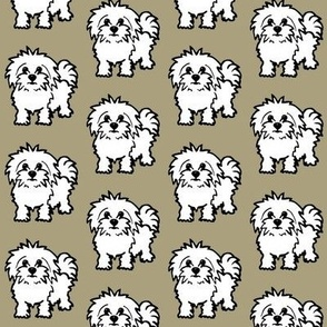 Maltese dog print - grey background