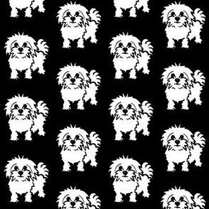 Maltese dog print - Black background