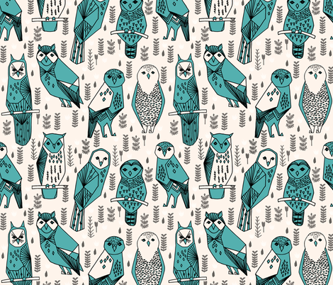 Parliament of Owls - Champagne/Charcoal/Tiffany Blue/Black fabric by andrea_lauren on Spoonflower - custom fabric