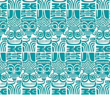 Tahitian Tikis 1b fabric by muhlenkott on Spoonflower - custom fabric